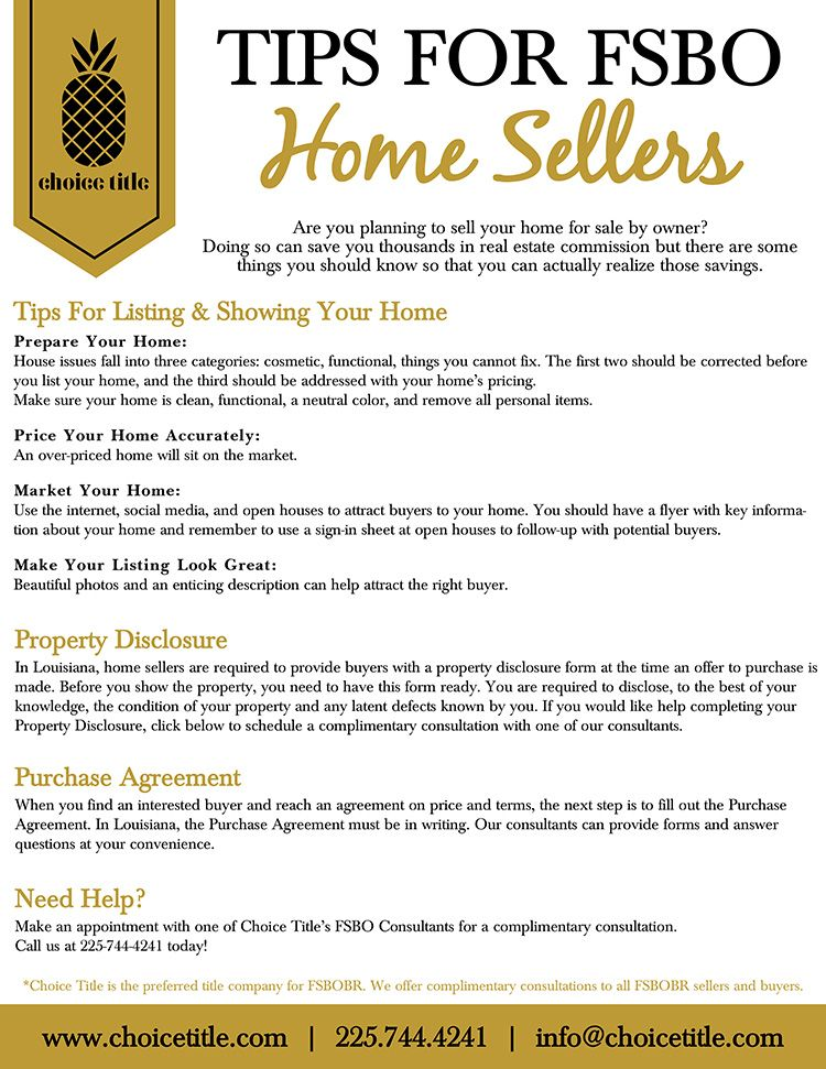 Tips For Baton Rouge Fsbo Home Sellers
